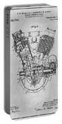1914 Spacke V Twin Motorcycle Engine Gray Patent Print Portable Battery Charger