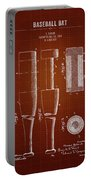 1919 Baseball Bat - Dark Red Blueprint Portable Battery Charger