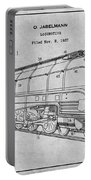 1937 Jabelmann Locomotive Gray Patent Print Portable Battery Charger