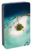 Aerial Drone View Of A Tropical Island, Maldives Portable Battery Charger