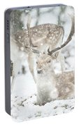 Beautiful Image Of Fallow Deer In Snow Winter Landscape In Heavy Portable Battery Charger