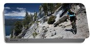 Cyclist On Mountain Road, Lake Tahoe Portable Battery Charger