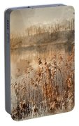 Digital Watercolor Painting Of Landscape Of Lake In Mist With Su Portable Battery Charger