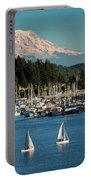 Sailboats At Gig Harbor Marina With Mount Rainier In The Background Portable Battery Charger