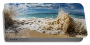 View Of Surf On The Beach, Hawaii, Usa Portable Battery Charger