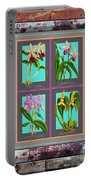 Antique Orchids Quatro On Rusted Metal And Weathered Wood Plank Portable Battery Charger