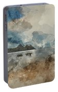 Digital Watercolor Painting Of Beautiful Summer Sunrise Landscap Portable Battery Charger