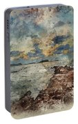 Digital Watercolor Painting Of Sunrise Over Rocky Coastline On M Portable Battery Charger