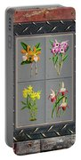 Orchids Antique Quadro Weathered Plank Rusty Metal Portable Battery Charger