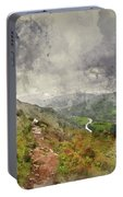 Digital Watercolor Painting Of Landscape Image Of View From Prec Portable Battery Charger