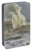 Stunning Dangerous High Waves Crashing Over Harbor Wall During W Portable Battery Charger
