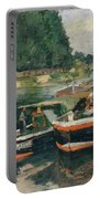 Barges At Pontoise  Portable Battery Charger