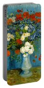 Vase With Cornflowers And Poppies Portable Battery Charger