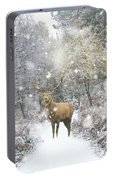 Beautiful Red Deer Stag In Snow Covered Festive Season Winter Fo Portable Battery Charger