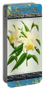 Orchid Framed On Weathered Plank And Rusty Metal Portable Battery Charger