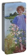 A Mother And Child By A River With Wild Roses 1919 Portable Battery Charger