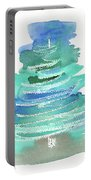Abstract Fir Tree Christmas Watercolor Painting Portable Battery Charger