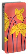 Abstract Flowers Geometric Art In Vibrant Coral And Yellow  Portable Battery Charger