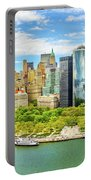 Aerial Panorama Of Downtown New York Skyline Portable Battery Charger