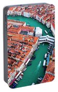 Aerial View Of Grand Canal And Rialto Bridge, Venice, Italy Portable Battery Charger
