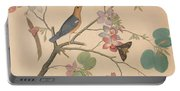 An Orange Headed Ground Thrush And A Moth On A Purple Ebony Orchid Branch, 1778 Portable Battery Charger