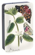 Antique Watercolor Illustration Of Nettle Butterfly In Various Life Stages Published In 1824 By M.p. Portable Battery Charger