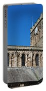 architecture of Hexham cathedral and clock tower Portable Battery Charger