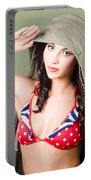 Army Pinup Saluting Retro Fashion In 1940 Style Portable Battery Charger