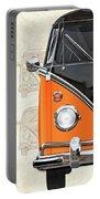 Volkswagen Type 2 - Black And Orange Volkswagen T1 Samba Bus Over Vintage Sketch  Portable Battery Charger