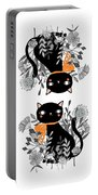 Kitty Kitty Sitting Pretty With Flowers All Around Portable Battery Charger
