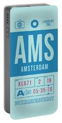 Retro Airline Luggage Tag 2.0 - Ams Amsterdam Netherlands Portable Battery Charger