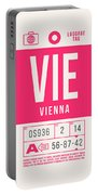 Retro Airline Luggage Tag 2.0 - Vie Vienna International Airport Austria Portable Battery Charger