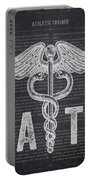 Athletic Trainer Gift Idea With Caduceus Illustration 02 Portable Battery Charger