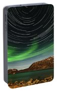 Aurora Borealis With Startrails Portable Battery Charger