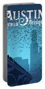 Austin Congress Bridge Bats In Blue Silhouette Portable Battery Charger