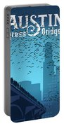 Austin Congress Bridge Bats In Blue Silhouette Portable Battery Charger
