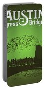 Austin Congress Bridge Bats In Green Silhouette Portable Battery Charger