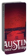 Austin Congress Bridge Bats In Red Silhouette Portable Battery Charger