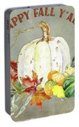Autumn Celebration - 4 Happy Fall Y'all White Pumpkin Fall Leaves Gourds Portable Battery Charger