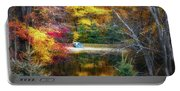 Autumn Pond With Rowboat Portable Battery Charger