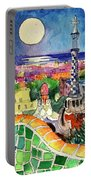 Barcelona By Moonlight Watercolor Painting By Mona Edulesco Portable Battery Charger