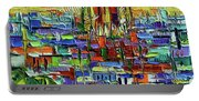 Barcelona Orange View - Sagrada Familia View From Park Guell - Abstract Palette Knife Oil Painting Portable Battery Charger