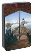 Barge Trip On The Elbe Near Dresden, Morning On The Elbe, 1827 Portable Battery Charger