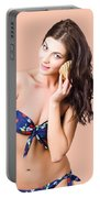 Beautiful Beach Babe Over Studio Background Portable Battery Charger