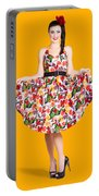 Beautiful Dancing Woman In Retro Red Dress Portable Battery Charger
