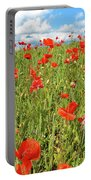 Beautiful Fields Of Red Poppies Portable Battery Charger