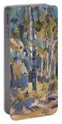 Birch Trees Along The Pond De Melle Portable Battery Charger