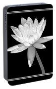 Black And White Water Lily Portable Battery Charger