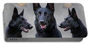 Black German Shepherd Dog Collage Portable Battery Charger