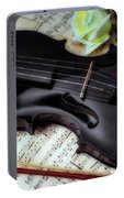 Black Violin On Sheet Music Portable Battery Charger